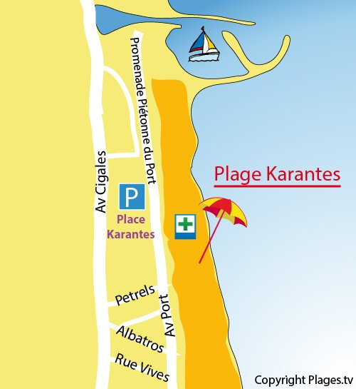 Map of Karantes Beach in Narbonne
