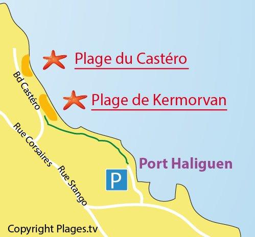 Mappa della Spiaggia di Kermorvan a Quiberon