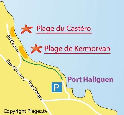 Map of Kermorvan Beach in Quiberon