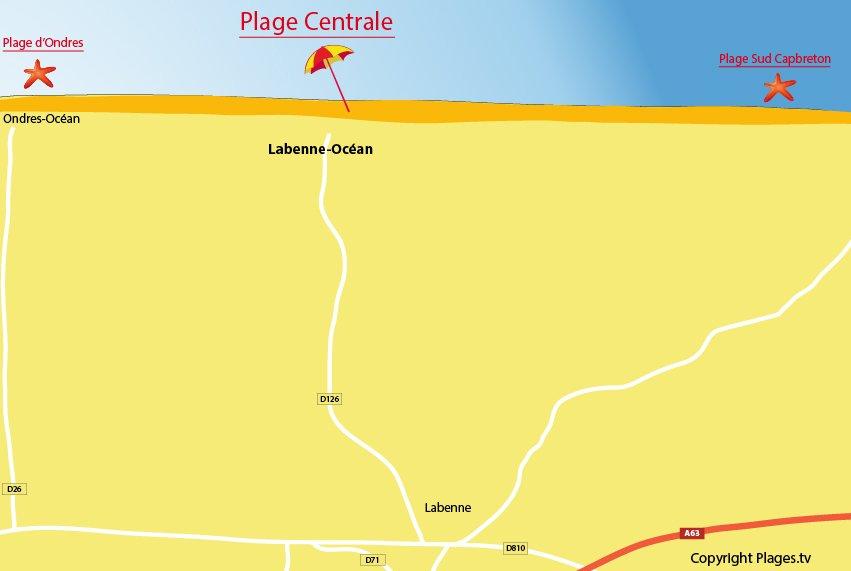 Plan de la plage de Labenne Océan