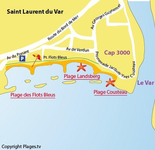 Map of Landsberg Beach in St Laurent du Var