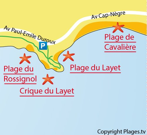 Carte de la plage du Layet au Lavandou
