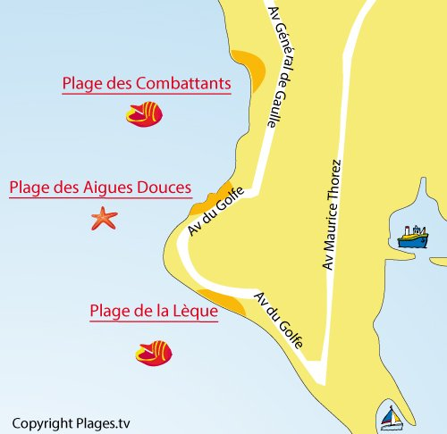 Map of Lèque Beach in Port de Bouc