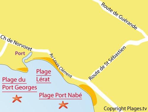 Carte de la plage de Lérat à Piriac sur Mer