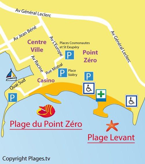 Carte de la plage du Levant à La Grande Motte