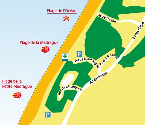 Map of Madrague Beach in Anglet