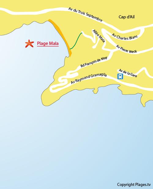 Karte Strand Mala von Cap d'Ail