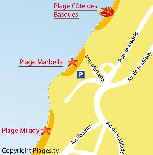 Plan de la plage de Marbella à Biarritz