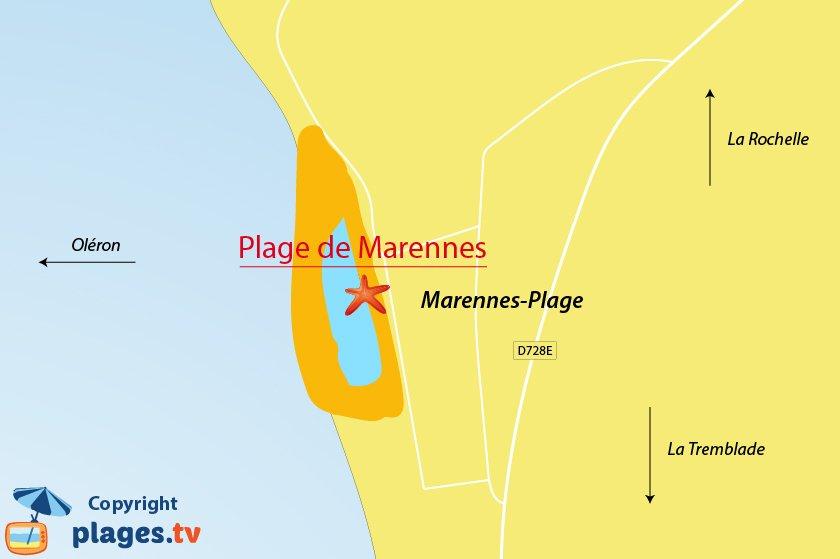 Plan de la plage de Marennes en Charente Maritime