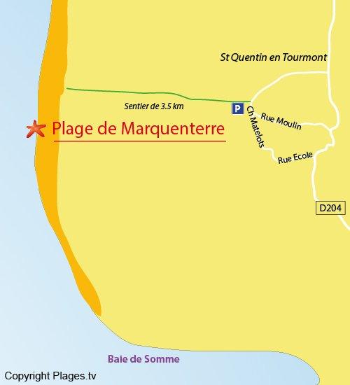 Plan de la plage de Marquenterre à St Quentin en Tourmont