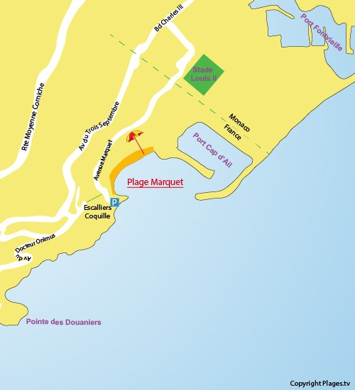 Map of the Marquet Beach in Cap d'Ail