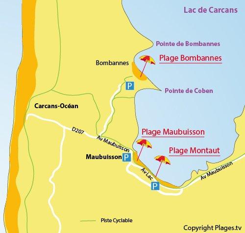 Carte de la plage de Maubuisson à Carcans