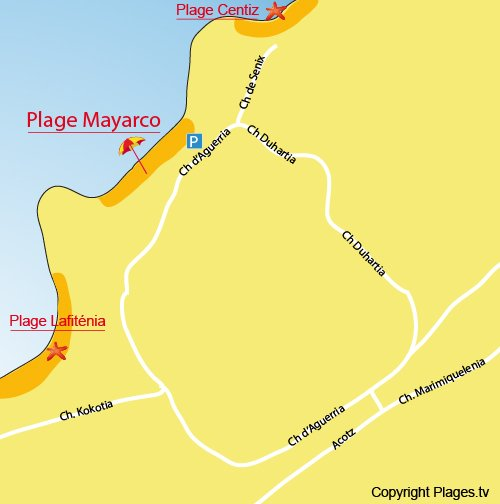 Map of Mayarco Beach in Saint Jean de Luz in France