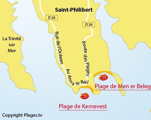 Plan de la plage de Men er Beleg à St Philibert
