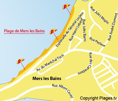 Map of Mers les Bains beach - France