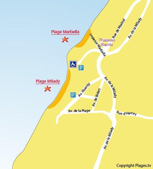 Plan de la plage Milady à Biarritz