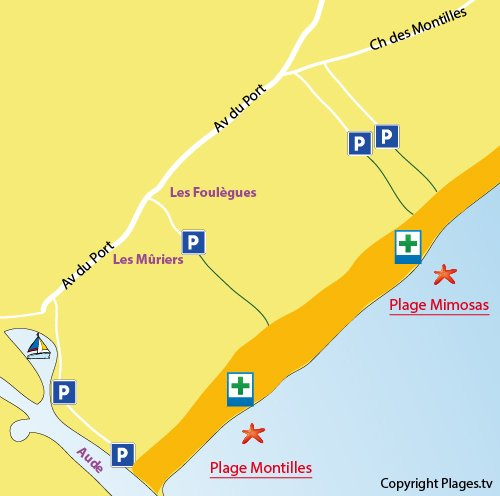 Plan de la plage des Mimosas à Vendres
