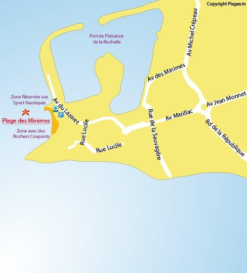 Map of Minimes Beach in La Rochelle