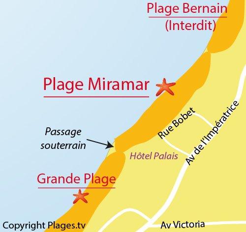 Plan de la plage de Miramar à Biarritz