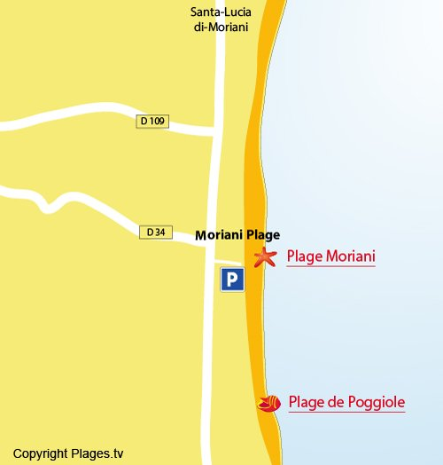 Map of Moriani beach in Corsica