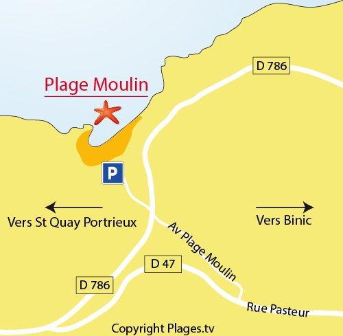 Carte de la plage d'étables sur mer en Bretagne
