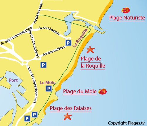 Map of the Nudist beach in Cape d'Agde in France