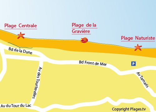 Map of Naturist Beach in Hossegor - France
