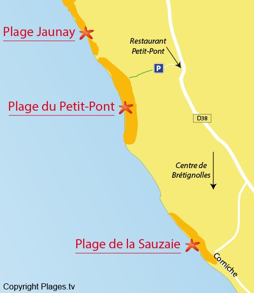 Map of Petit Pont Beach in Brétignolles sur Mer