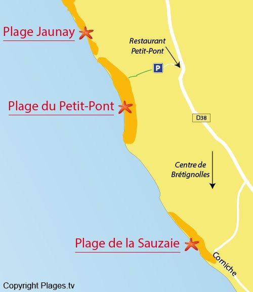 Plan de la plage naturiste du Petit Pont à Brétignolles sur Mer
