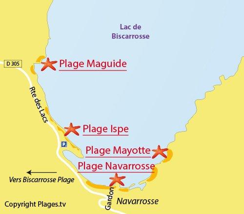 Mappa della Spiaggia del Lago di Navarrosse - Lago di Biscarrosse