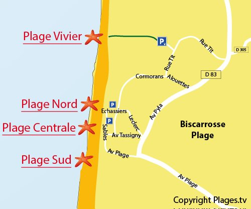 Map of North Beach in Biscarrosse