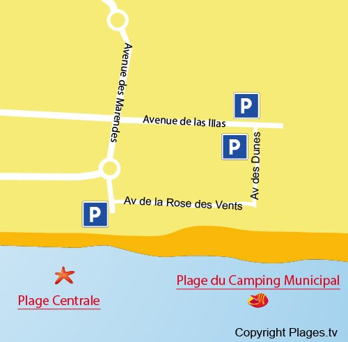Mappa della Spiaggia del Camping municipale a Sainte Marie