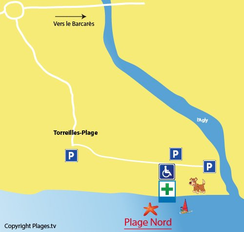 Carte de la plage Nord de Torreilles