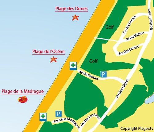 Mappa della Spiaggia dell'Ocano a Anglet