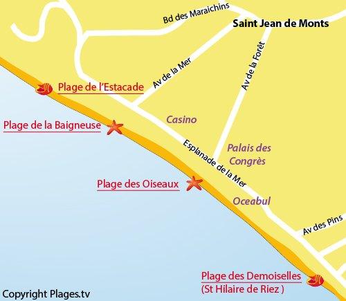 Plan de la plage du centre ville de St Jean de Monts - Les Oiseaux