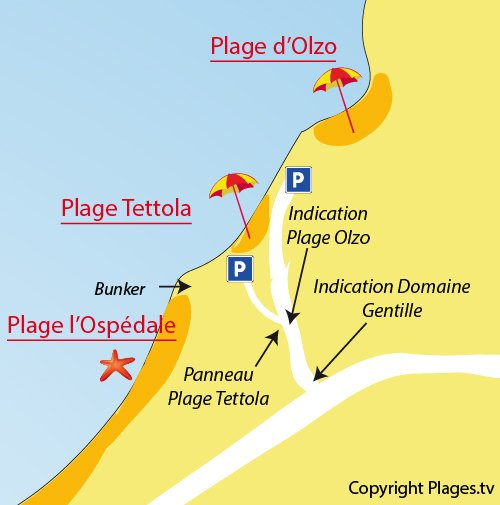 Map of Olzo Beach in St Florent