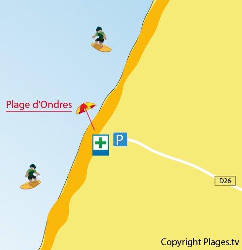 Plan de la plage d'Ondres dans les Landes