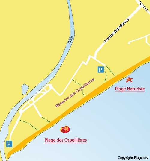 Map of Orpellières Beach in Sérignan
