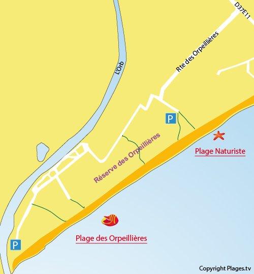 Carte de la plage des Orpellières à Sérignan