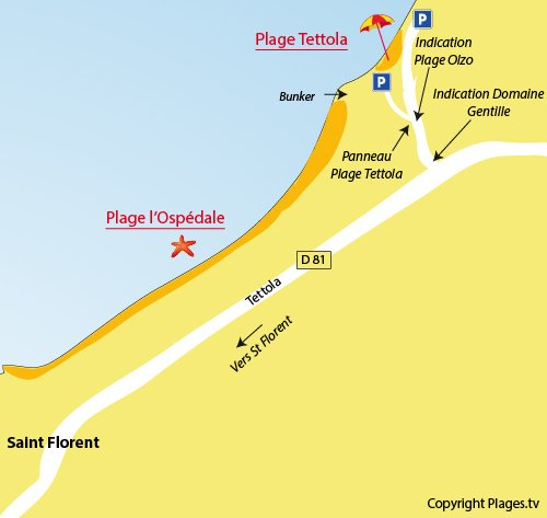 Map of Ospedale Beach in St Florent