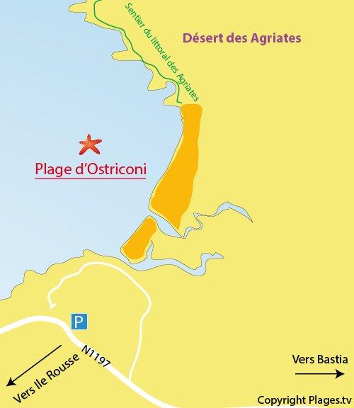 Plan de la plage de l'Ostriconi en Corse