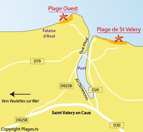 Map of West Beach in St Valery en Caux