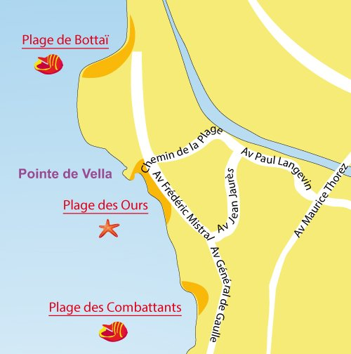 Map of Ours Beach  in Port de Bouc