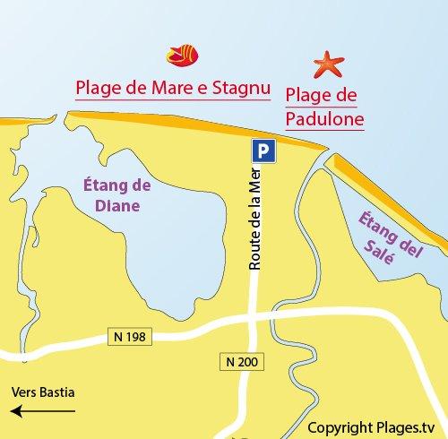 Plan de la plage de Padulone à Aléria - Corse