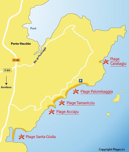 Map of the Palombaggia beach in Porto Vecchio - Corsica