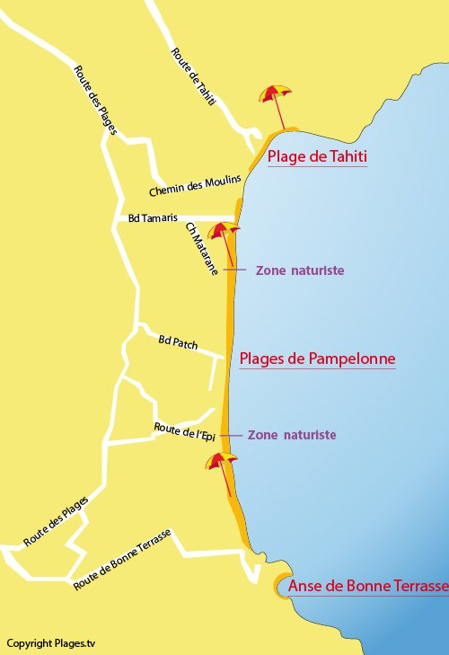 Map of Pampelonne Beach in Ramatuelle (St-Tropez) - France