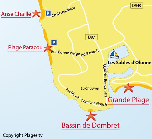 Map of the Paracou Beach – La Chaume in Les Sables d'Olonne