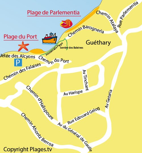 Map of Parlementia beach in Guéthary in France