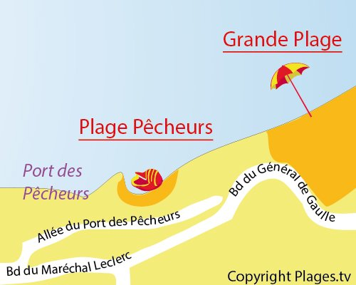 Map of Pecheurs Beach in Biarritz