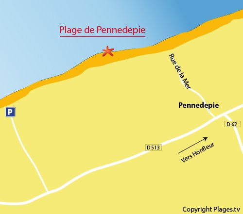 Map of Pennedie beach in Normandy